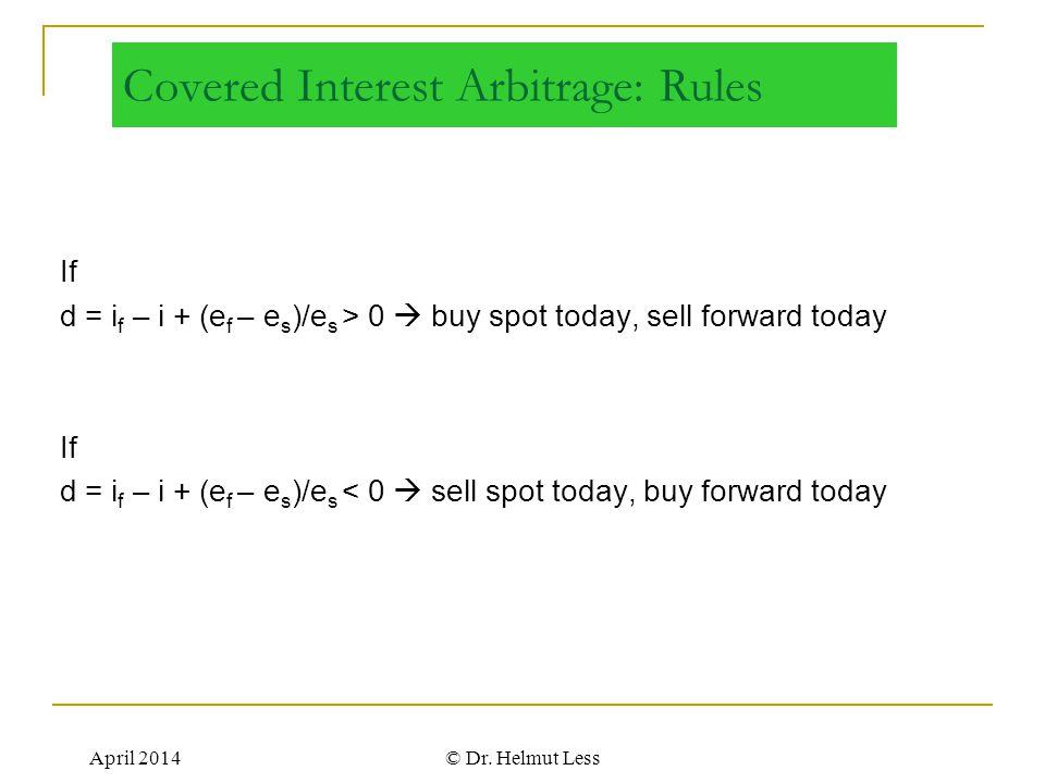 April 2014© Dr. Helmut Less Covered Interest Arbitrage: Rules If d = i f – i + (e f – e s )/e s > 0  buy spot today, sell forward today If d = i f –