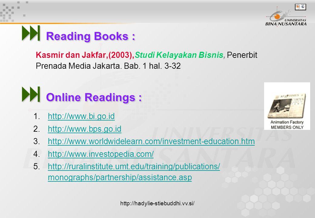  Reading Books : Kasmir dan Jakfar,(2003),Studi Kelayakan Bisnis, Penerbit Prenada Media Jakarta.