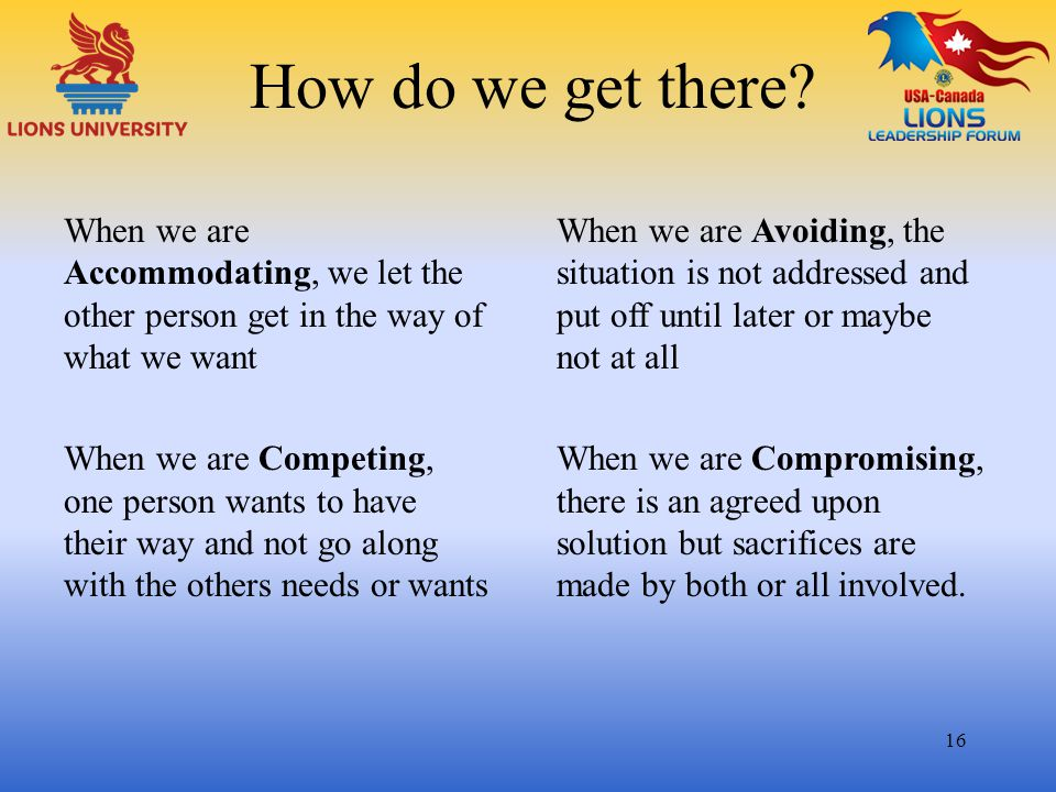 How do we get there? When we are Accommodating, we let the other person get in the way of what we want When we are Competing, one person wants to have