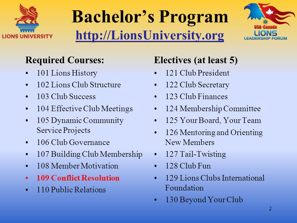 Required Courses: 101 Lions History 102 Lions Club Structure 103 Club Success 104 Effective Club Meetings 105 Dynamic Community Service Projects 106 C