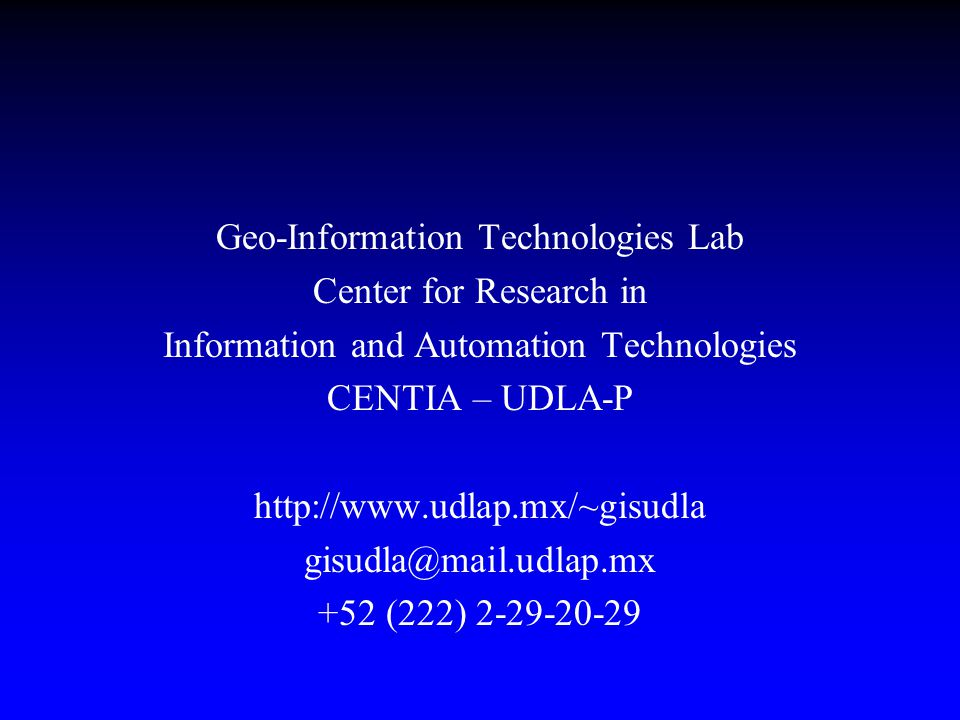 Introduction to GML (Geography Markup Language) as a tool to exchange geographic data David Sol, Professor - Researcher, UDLA Antonio Razo, Research Assistant, UDLA Tel: +52 (222)-229 20 29 Fax: +52 (222)-229 21 38 Email: sol@mail.udlap.mx, anrazo@mail.udlap.mx