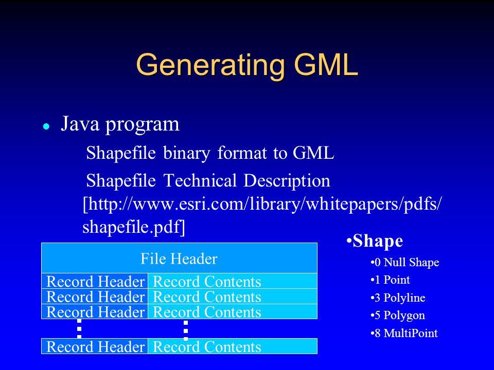 Generating GML Avenue Script  ExportGML.ave Fecha: 10 de Diciembre de 2001 Modificado: 15 de Agosto de 2002 Autor: Laboratorio de Tecnologías de Geoinformación (XALTAL) CENTIA - Universidad de las Americas-Puebla Ing.