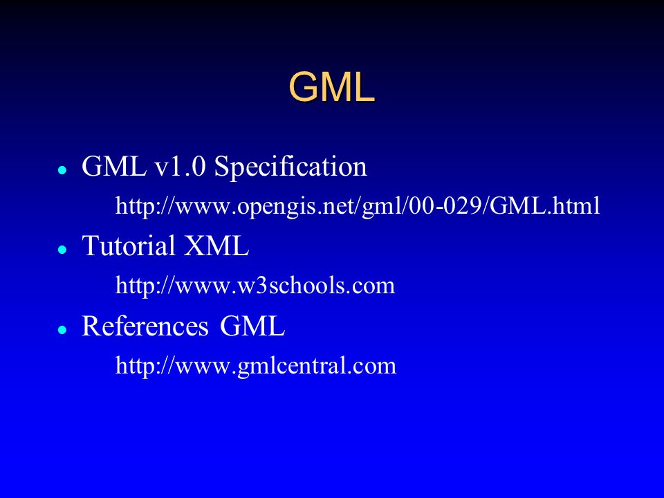 Visualizing GML To draw a map from GML data you need to transform the GML into one of the graphical vector data formats such as SVG, VML or VRML This means to associate a graphical style (e.g.