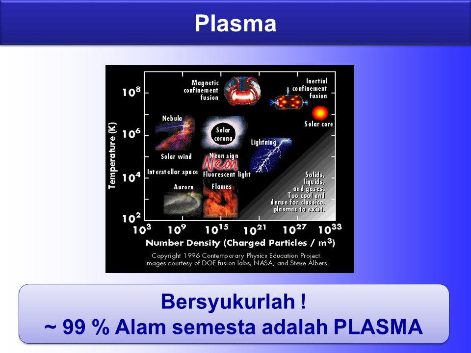 Plasma Bersyukurlah . ~ 99 % Alam semesta adalah PLASMA Bersyukurlah .