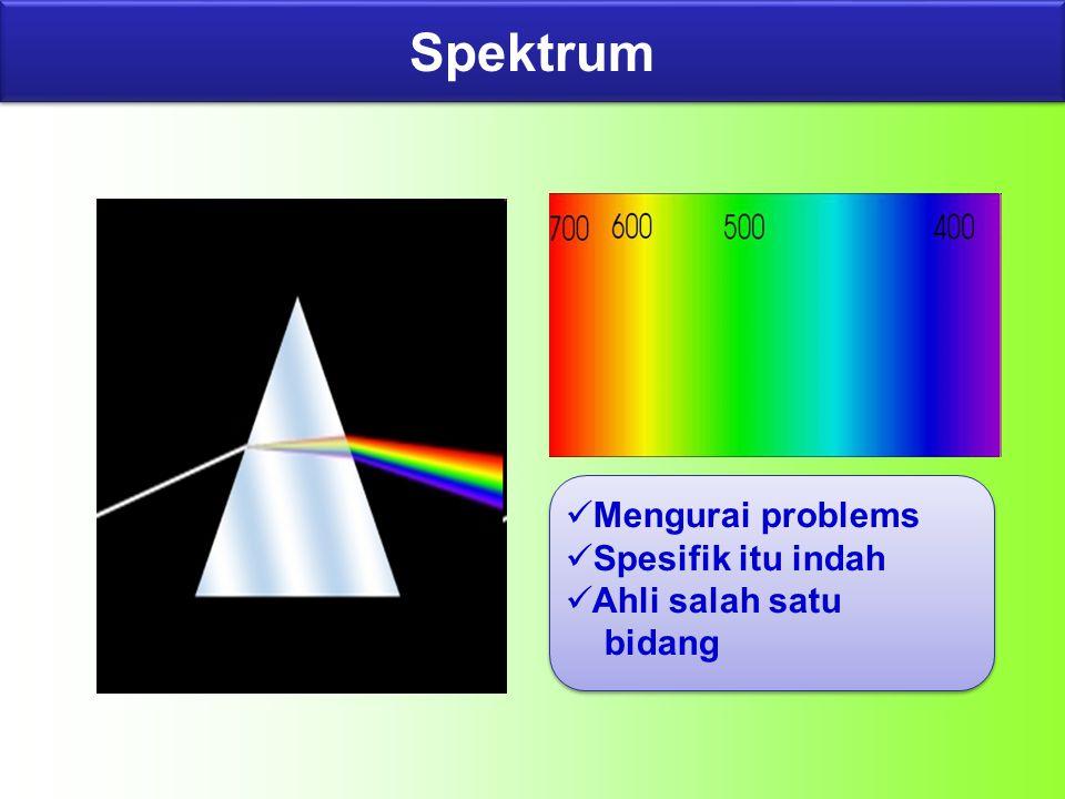 Mengurai problems Spesifik itu indah Ahli salah satu bidang Spektrum
