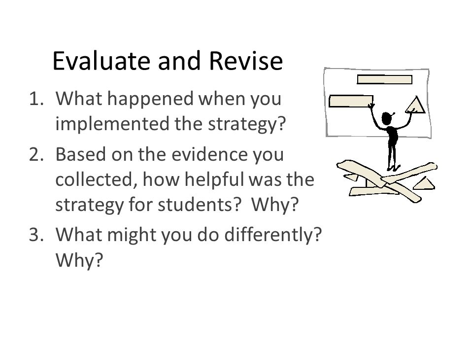 Evaluate and Revise 1.What happened when you implemented the strategy? 2.Based on the evidence you collected, how helpful was the strategy for student