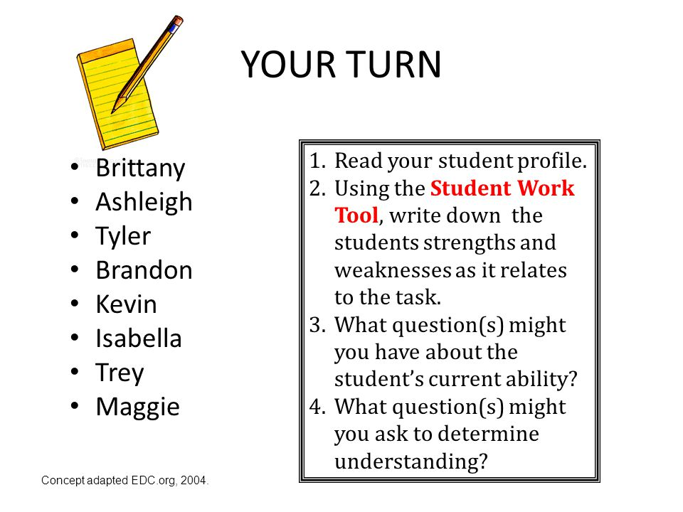 YOUR TURN Brittany Ashleigh Tyler Brandon Kevin Isabella Trey Maggie 1.Read your student profile. 2.Using the Student Work Tool, write down the studen
