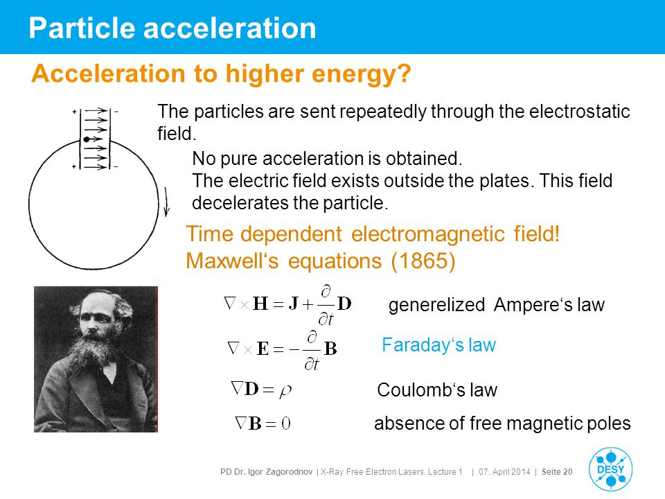 PD Dr. Igor Zagorodnov | X-Ray Free Electron Lasers. Lecture 1 | 07. April 2014 | Seite 20 Particle acceleration No pure acceleration is obtained. The