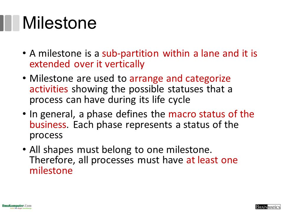 Milestone A milestone is a sub-partition within a lane and it is extended over it vertically Milestone are used to arrange and categorize activities s