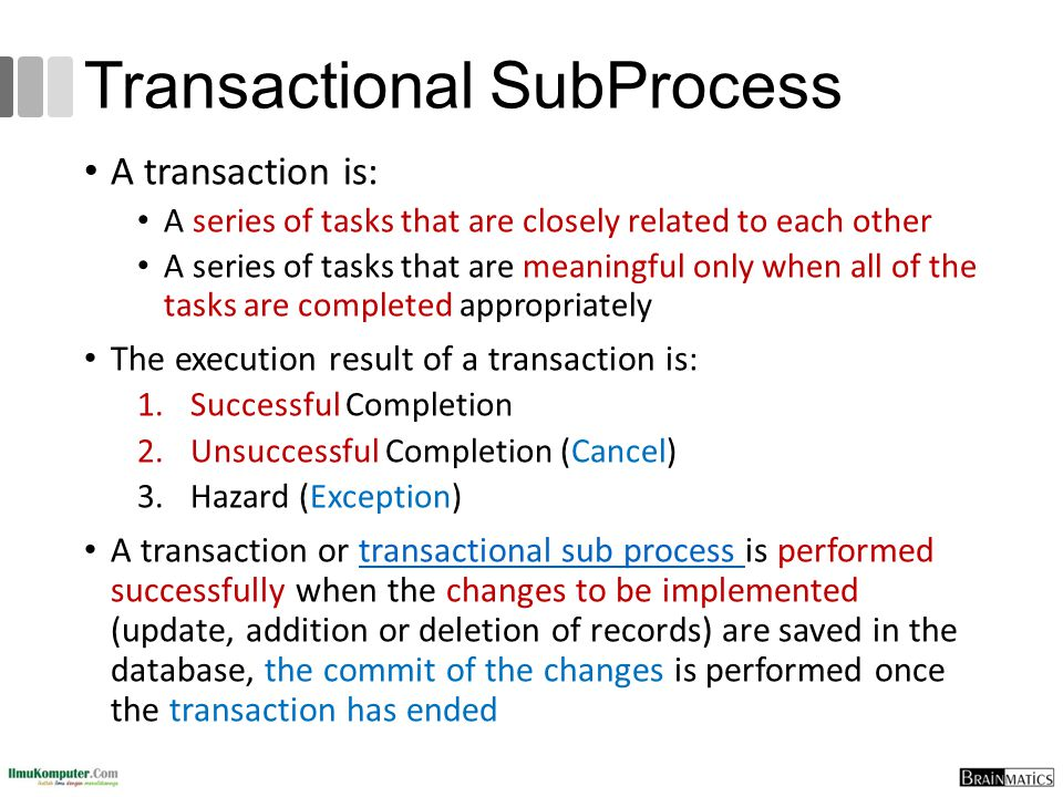 Transactional SubProcess A transaction is: A series of tasks that are closely related to each other A series of tasks that are meaningful only when al