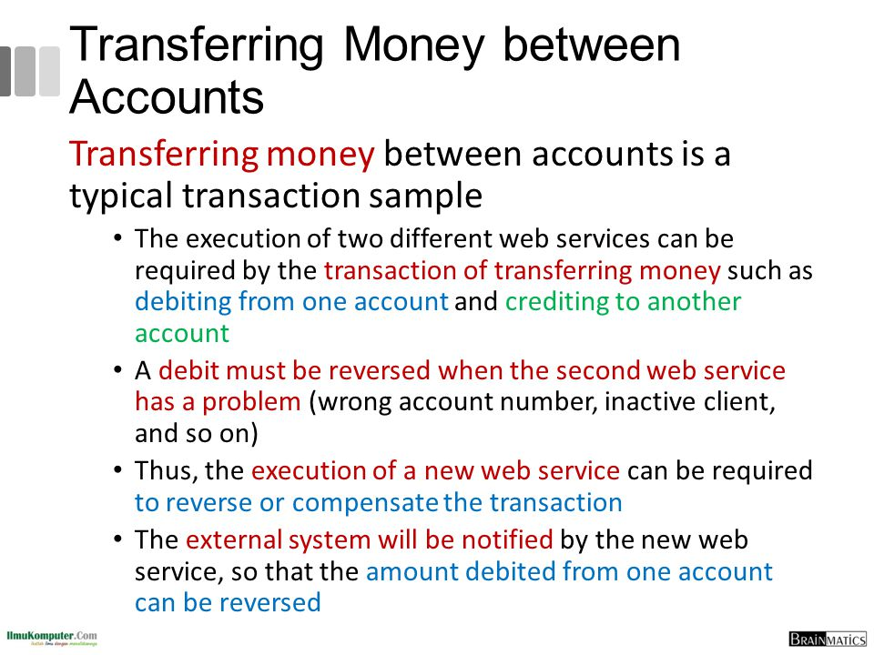 Transferring Money between Accounts Transferring money between accounts is a typical transaction sample The execution of two different web services ca