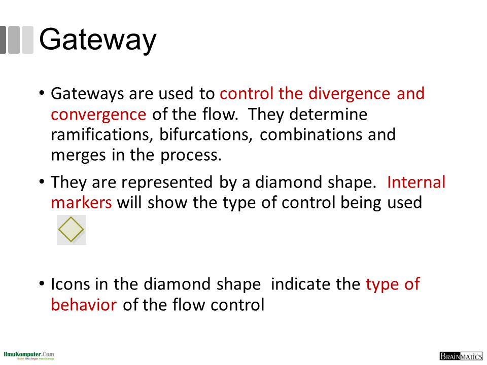 Gateway Gateways are used to control the divergence and convergence of the flow. They determine ramifications, bifurcations, combinations and merges i