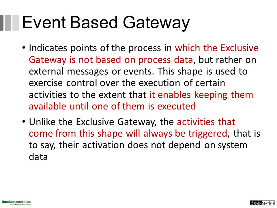 Event Based Gateway Indicates points of the process in which the Exclusive Gateway is not based on process data, but rather on external messages or ev