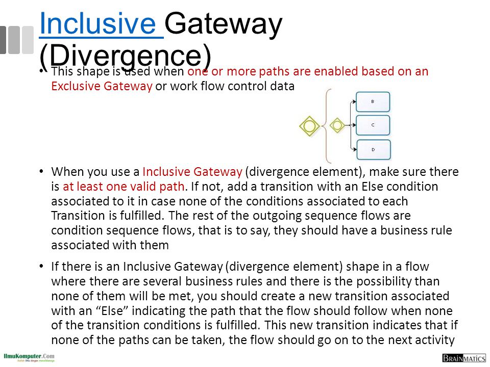 Inclusive Inclusive Gateway (Divergence) This shape is used when one or more paths are enabled based on an Exclusive Gateway or work flow control data
