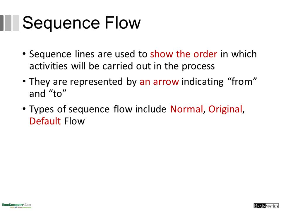 Sequence Flow Sequence lines are used to show the order in which activities will be carried out in the process They are represented by an arrow indica