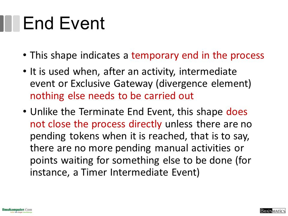 End Event This shape indicates a temporary end in the process It is used when, after an activity, intermediate event or Exclusive Gateway (divergence