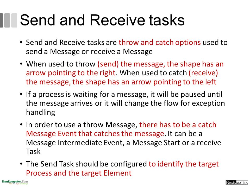 Send and Receive tasks Send and Receive tasks are throw and catch options used to send a Message or receive a Message When used to throw (send) the me