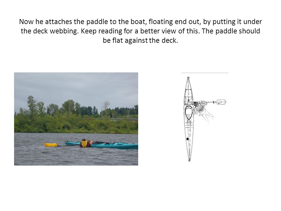 Now he attaches the paddle to the boat, floating end out, by putting it under the deck webbing.
