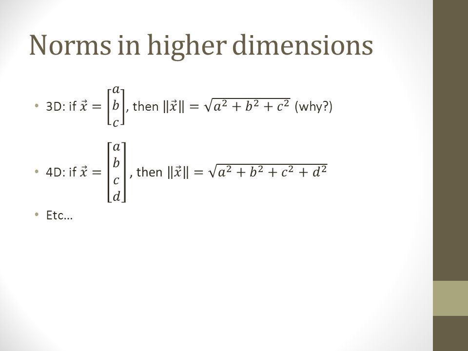 Norms in higher dimensions
