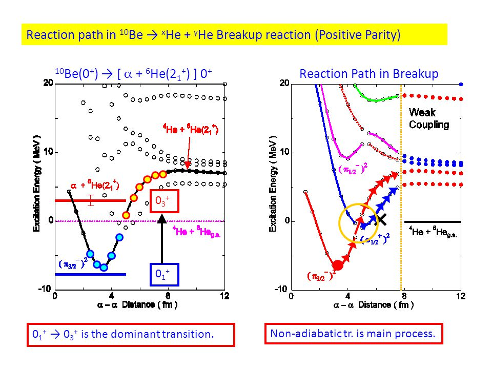 Non-adiabatic tr. is main process. Reaction path in 10 Be → x He + y He Breakup reaction (Positive Parity) × 01+01+ 03+03+ 0 1 + → 0 3 + is the domina