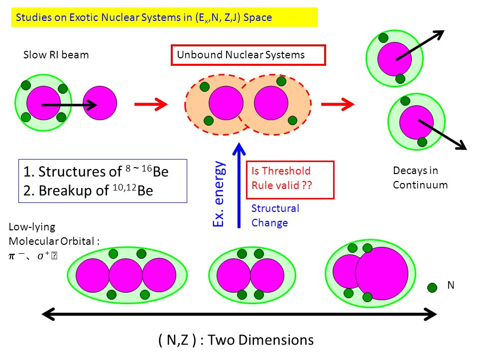 Studies on Exotic Nuclear Systems in (E x,N, Z,J) Space ( N,Z ) : Two Dimensions Ex.
