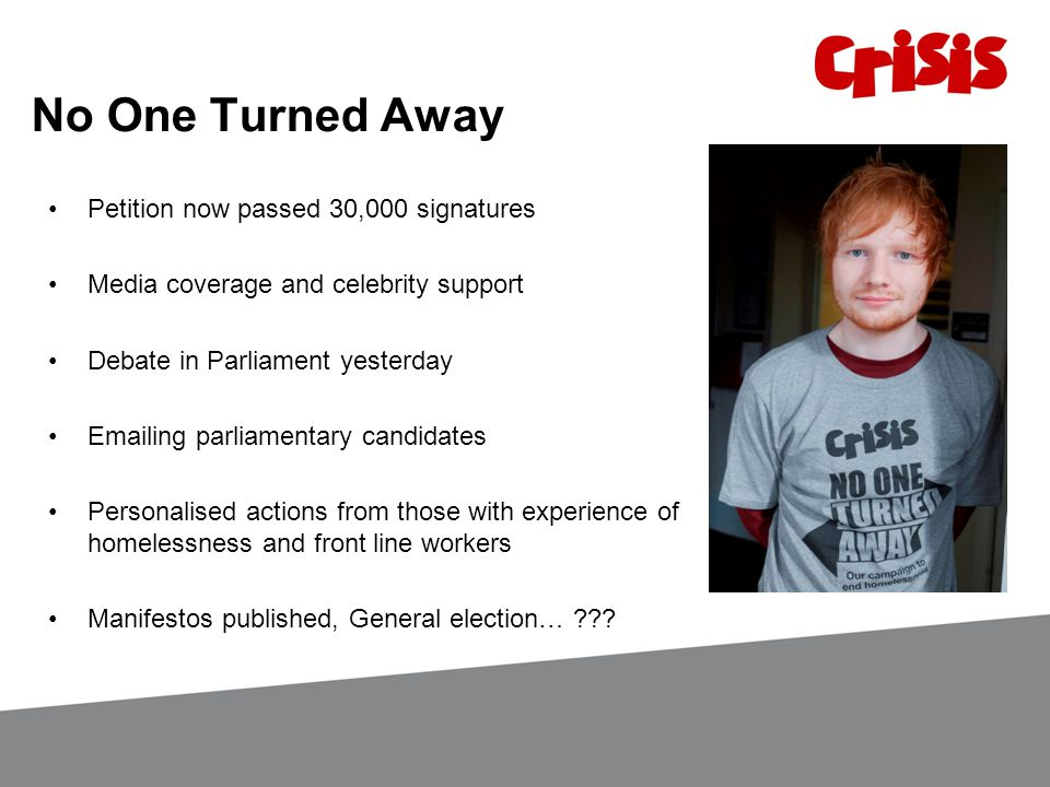 No One Turned Away Petition now passed 30,000 signatures Media coverage and celebrity support Debate in Parliament yesterday Emailing parliamentary candidates Personalised actions from those with experience of homelessness and front line workers Manifestos published, General election…