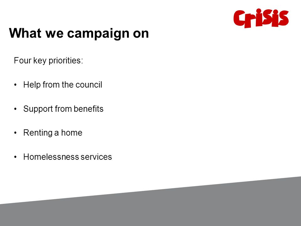 What we campaign on Four key priorities: Help from the council Support from benefits Renting a home Homelessness services