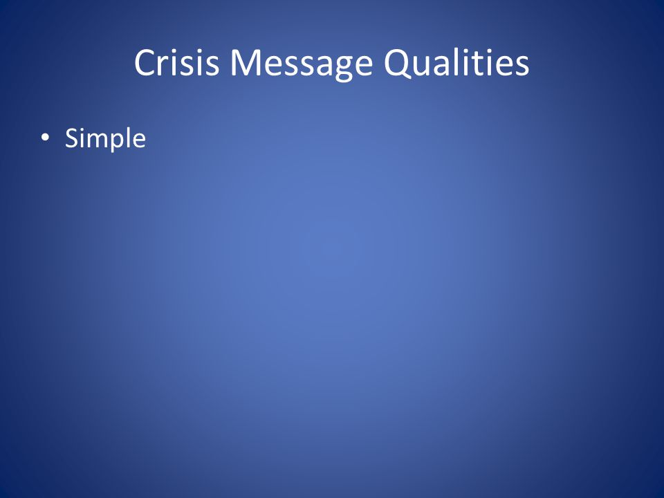 Crisis Message Qualities Simple