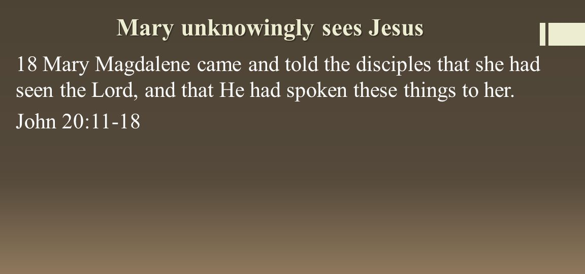 Mary unknowingly sees Jesus 18 Mary Magdalene came and told the disciples that she had seen the Lord, and that He had spoken these things to her.