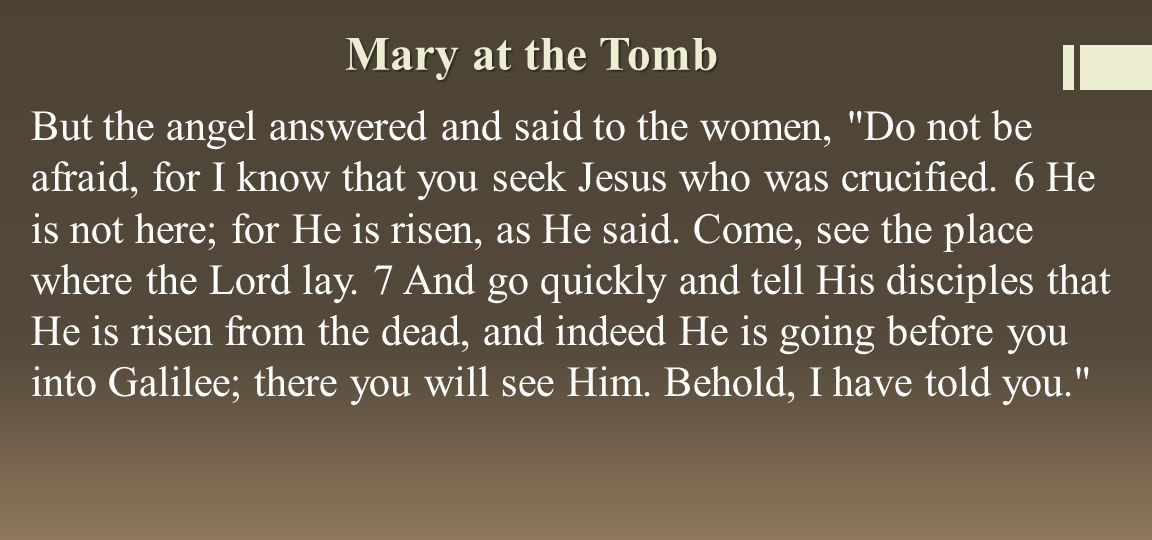 Mary at the Tomb But the angel answered and said to the women, Do not be afraid, for I know that you seek Jesus who was crucified.