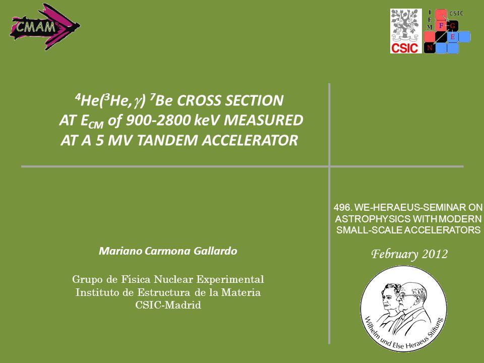 Mariano Carmona Gallardo Grupo de Física Nuclear Experimental Instituto de Estructura de la Materia CSIC-Madrid 496. WE-HERAEUS-SEMINAR ON ASTROPHYSIC