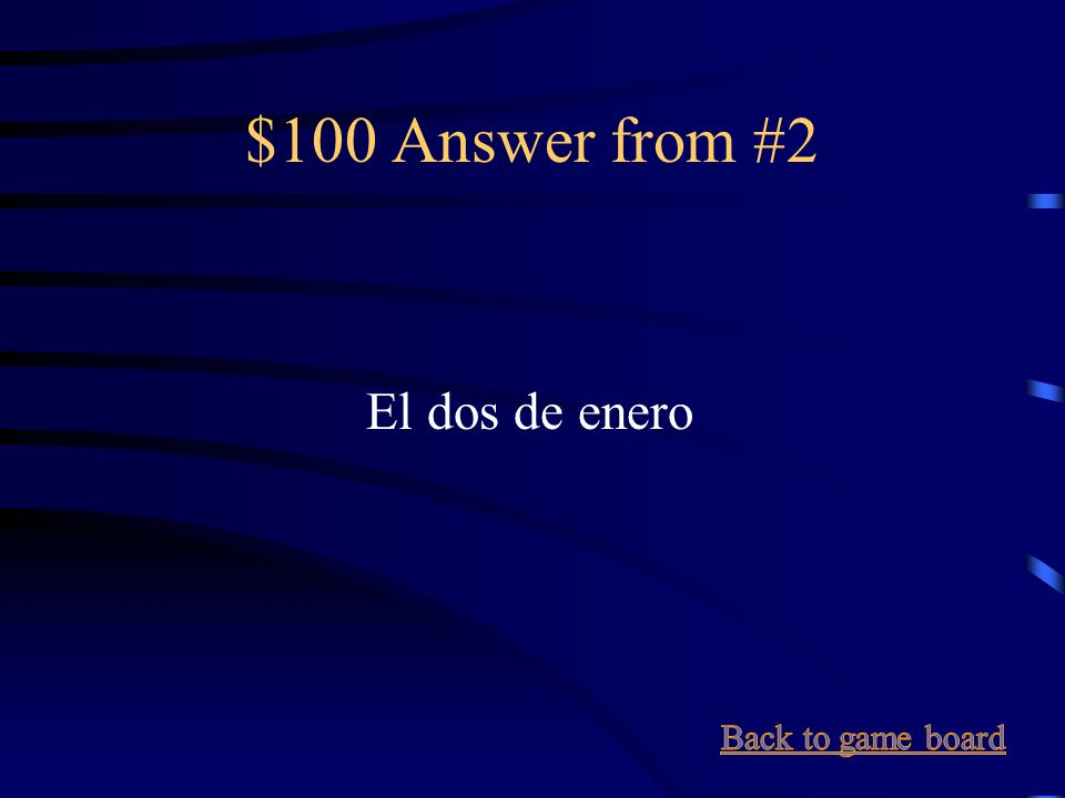 $100 Question from #2 January 2