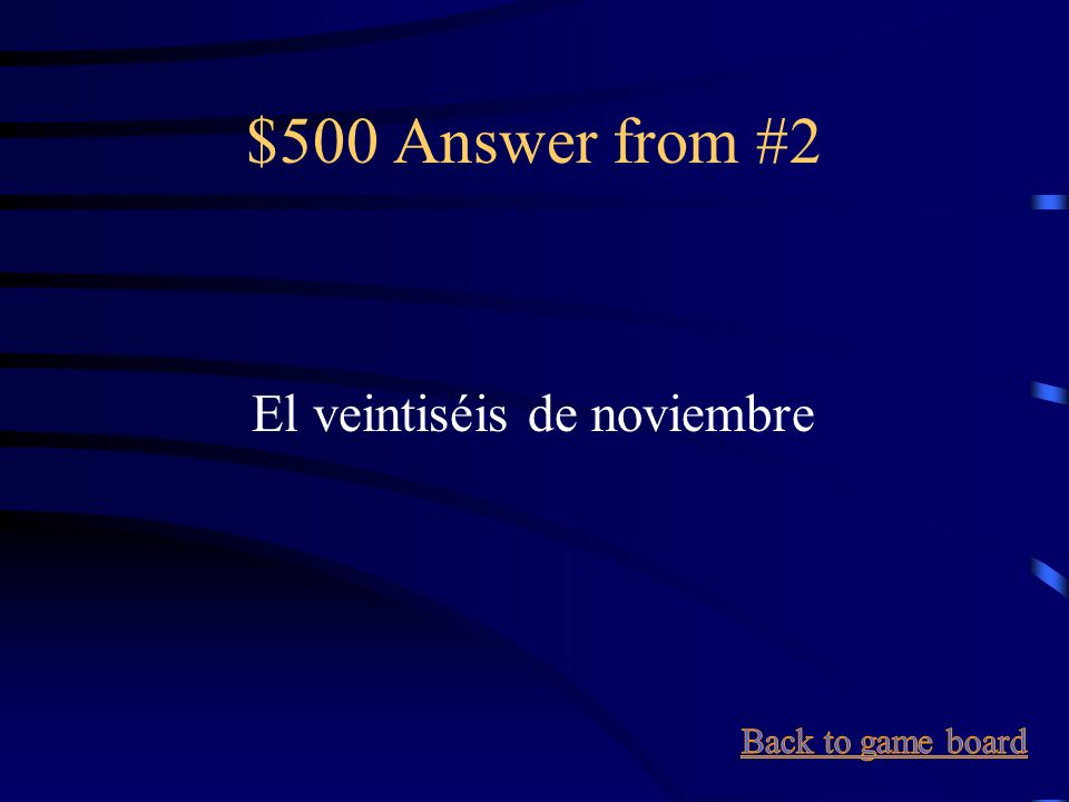 $500 Question from #2 November 26