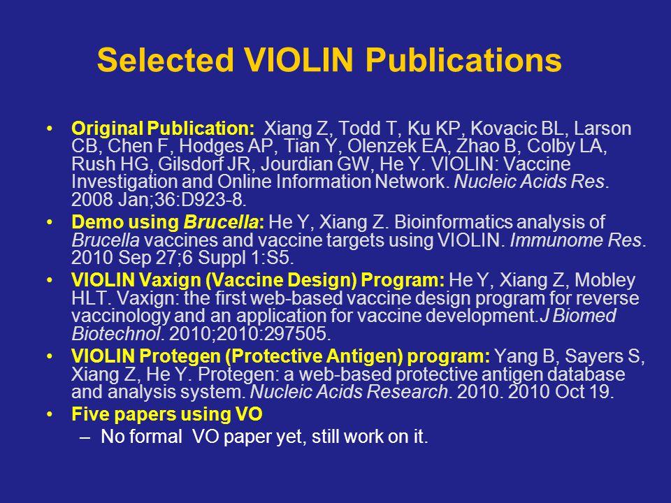 Selected VIOLIN Publications Original Publication: Xiang Z, Todd T, Ku KP, Kovacic BL, Larson CB, Chen F, Hodges AP, Tian Y, Olenzek EA, Zhao B, Colby LA, Rush HG, Gilsdorf JR, Jourdian GW, He Y.