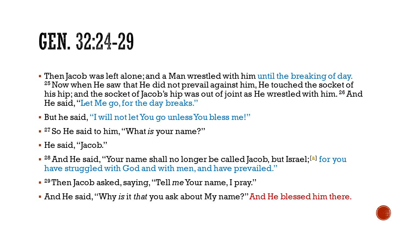  Then Jacob was left alone; and a Man wrestled with him until the breaking of day.