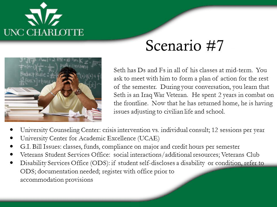 Scenario #7 Seth has Ds and Fs in all of his classes at mid-term.