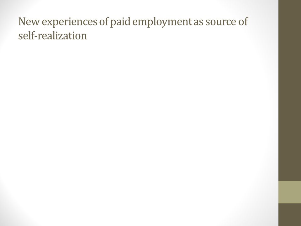 New experiences of paid employment as source of self-realization