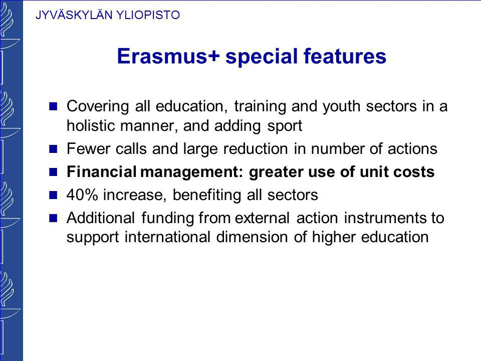 JYVÄSKYLÄN YLIOPISTO Erasmus+ special features Covering all education, training and youth sectors in a holistic manner, and adding sport Fewer calls a