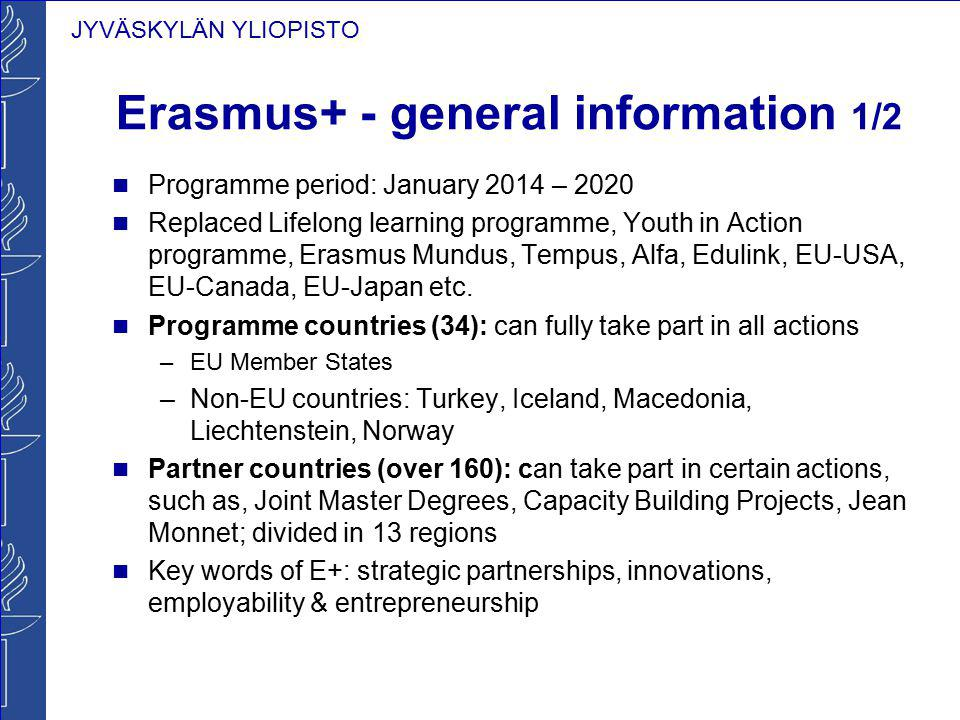 JYVÄSKYLÄN YLIOPISTO 2015 call for proposals covers the following actions of the Erasmus+ programme Key Action 1 (KA1) — Learning mobility of individuals Mobility of individuals in the field of education, training and youth (CIMO) Erasmus Mundus Joint master degrees (EACEA) Large-scale European voluntary service events Key Action 2 (KA2) — Cooperation for innovation and the exchange of good practices Strategic partnerships in the field of education, training and youth (CIMO) Knowledge alliances (EACEA) Sector skills alliances (EACEA) Capacity building in the field of higher education (EACEA) Capacity building in the field of youth (EACEA)