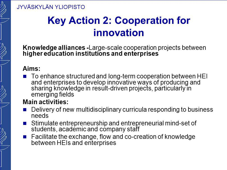 JYVÄSKYLÄN YLIOPISTO Key Action 2: Cooperation for innovation Knowledge alliances -Large-scale cooperation projects between higher education instituti