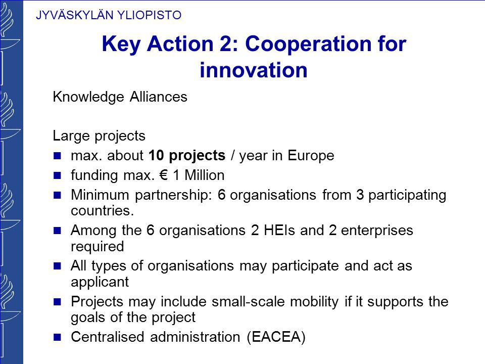 JYVÄSKYLÄN YLIOPISTO Key Action 2: Cooperation for innovation Knowledge Alliances Large projects max. about 10 projects / year in Europe funding max.