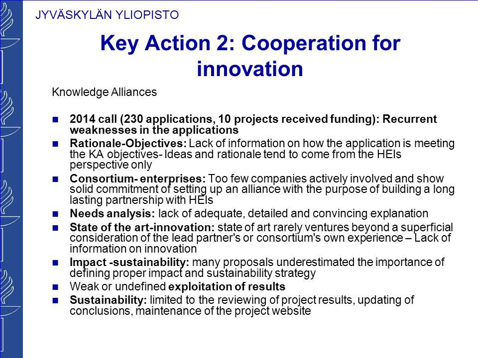 JYVÄSKYLÄN YLIOPISTO Key Action 2: Cooperation for innovation Knowledge Alliances 2014 call (230 applications, 10 projects received funding): Recurren