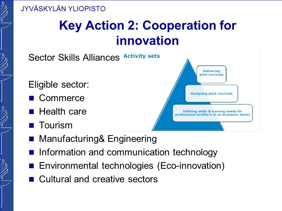JYVÄSKYLÄN YLIOPISTO Key Action 2: Cooperation for innovation Sector Skills Alliances Eligible sector: Commerce Health care Tourism Manufacturing& Eng