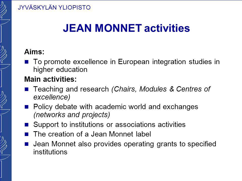 JYVÄSKYLÄN YLIOPISTO JEAN MONNET activities Aims: To promote excellence in European integration studies in higher education Main activities: Teaching