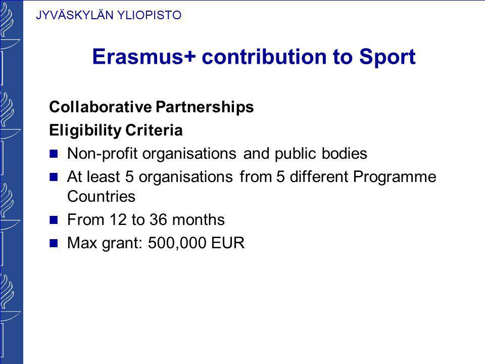 JYVÄSKYLÄN YLIOPISTO Erasmus+ contribution to Sport Collaborative Partnerships Eligibility Criteria Non-profit organisations and public bodies At leas