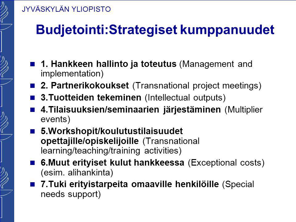 JYVÄSKYLÄN YLIOPISTO Budjetointi:Strategiset kumppanuudet 1. Hankkeen hallinto ja toteutus (Management and implementation) 2. Partnerikokoukset (Trans