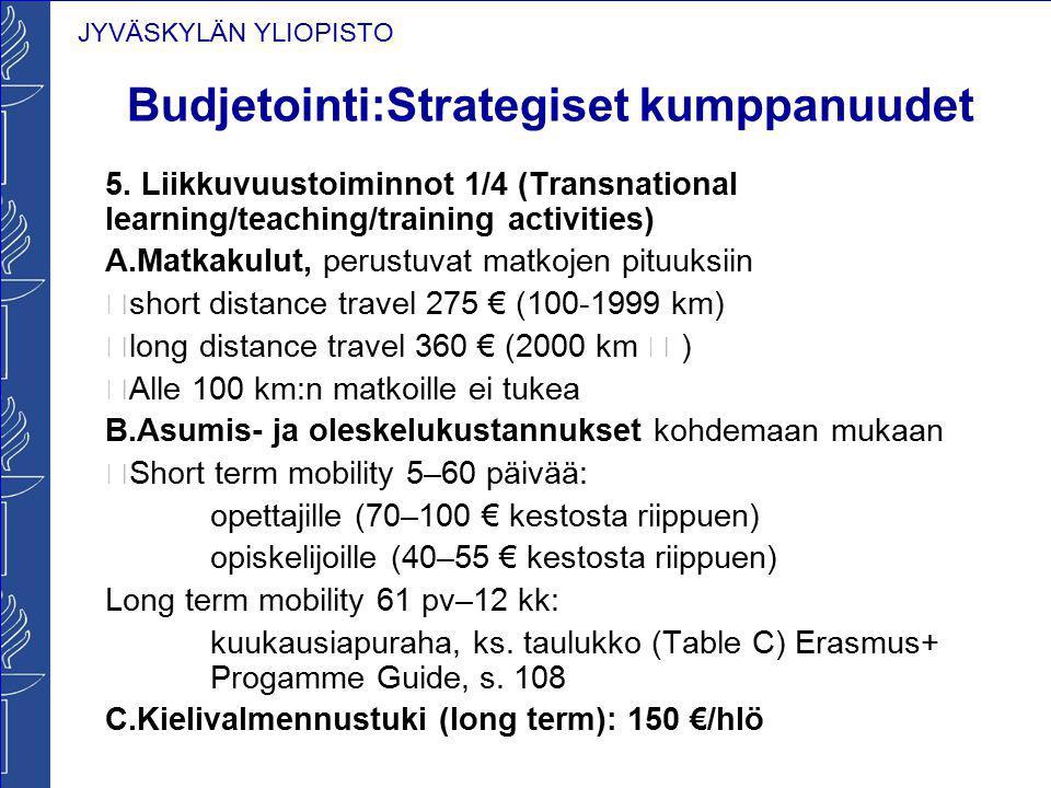 JYVÄSKYLÄN YLIOPISTO Budjetointi:Strategiset kumppanuudet 5. Liikkuvuustoiminnot 1/4 (Transnational learning/teaching/training activities) A.Matkakulu