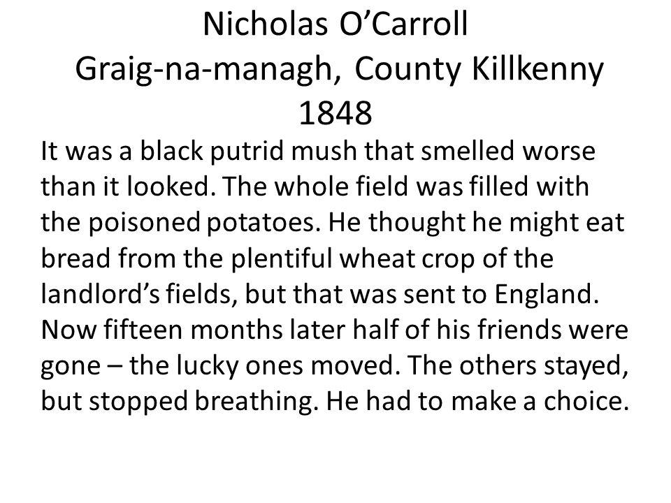Nicholas O'Carroll Graig-na-managh, County Killkenny 1848 It was a black putrid mush that smelled worse than it looked.