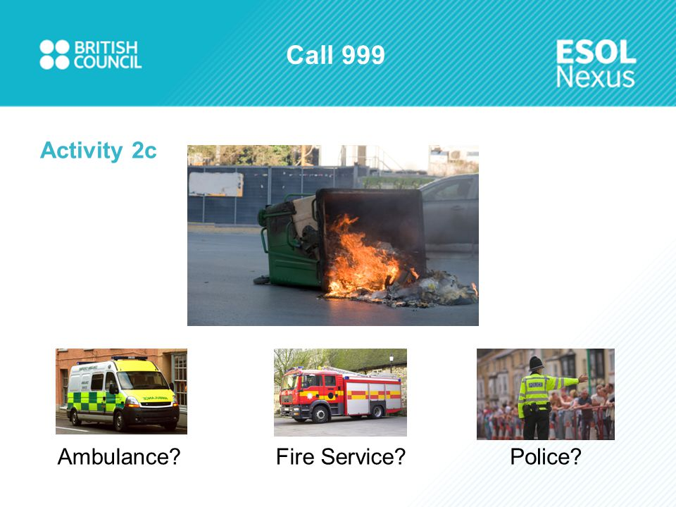 Call 999 Activity 2c Ambulance?Fire Service?Police?