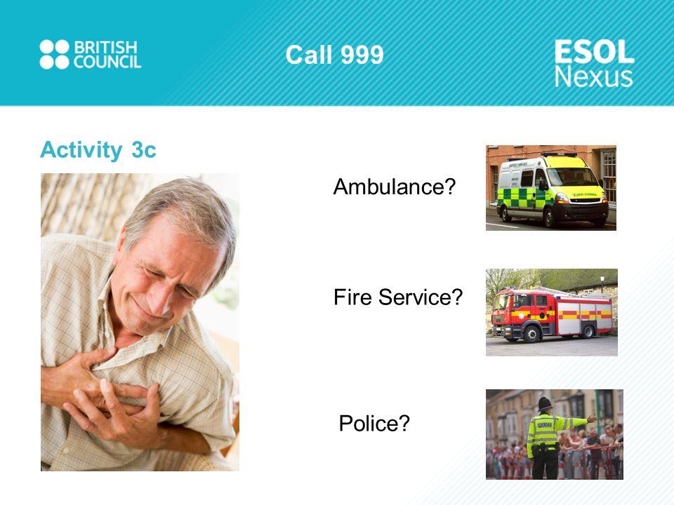 Call 999 Activity 3c Ambulance Fire Service Police